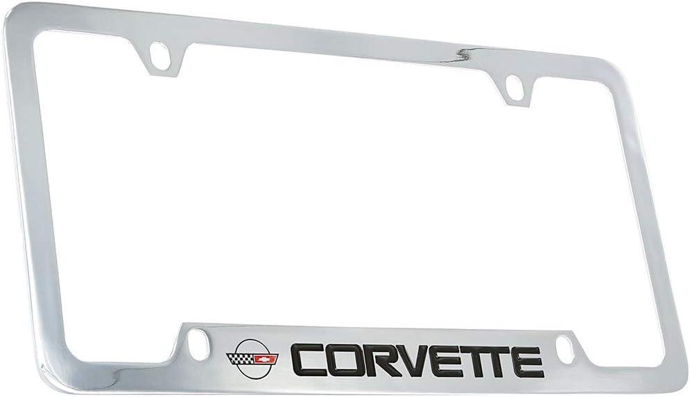 Chevrolet Corvette C4 Chrome Plated Brass Metal License Plate Frame Holder