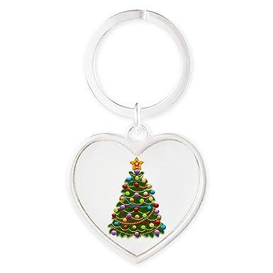Elegant Christmas Ornaments.Amazon Com Heart Keychain Elegant Christmas Tree And