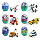 Easter eggs filled with Building Brick blocks toys. 6 eggs each have different shape bricks and instructions to build an Airplane, police car, fire truck, helicopter, race car & construction car