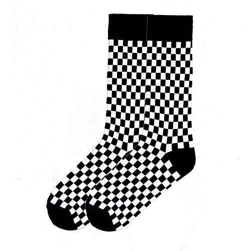 K. Bell Socks Men's Geometric Pattern Novelty Crew Socks, Checkered (Black/White), Shoe Size: 6-12 (Black Checkered White Pattern)