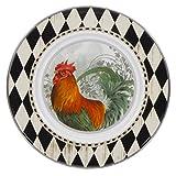 Enamelware - Rooster Royale Pattern - 8.5 Inch Sandwich Plate