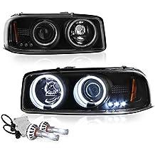 [Built-In COB Cree LED Low Beam] - VIPMotoZ 1999-2006 GMC Sierra 1500 2500 3500 Yukon XL CCFL Halo Headlights Headlamps, Driver and Passenger Side