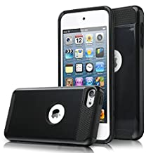 iPod Touch 6 Case, MCUK Dual Layer Hybrid Cover Silicone Rubber Skin Hard Combo Bumper High Quality Scratch-Resistant Case Fit For Apple iPod Touch 5 6th Generation (Black)