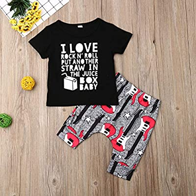 Baby Boy Clothes I Love Rock N' Roll Letter Print Short Sleeve Shirt Top+Guitar Pants 2PC Summer Outfit Set: Clothing