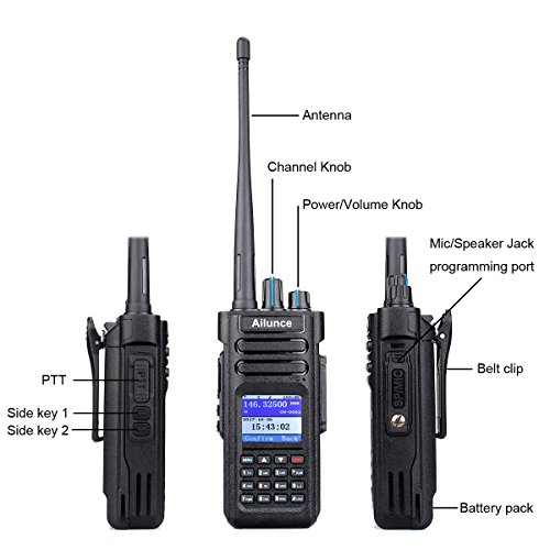 Ailunce HD1 GPS Digital 2 Way Radio Dual Band Dual Time Slot 10W 3000Channels 100000 Contacts 3200mAh Waterproof Ham Radio with FM Function and Programming Cable(Black,1pack) by Ailunce (Image #4)