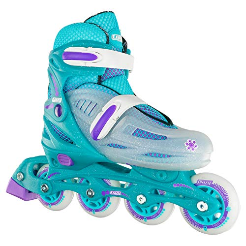 Crazy Skates Adjustable Inline Skates for Girls - Beginner Kids Rollerblades - Teal with Purple (Small/Sizes j11-1)