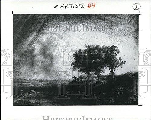 Vintage Photos Historic Images 1989 Press Photo Artist Rembrandt Harmensz Van Rijn Painting The Three Trees - 8.25 x 10.25 ()