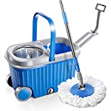 Mastertop Rolling Microfiber Spin Mop and Bucket with Two Wheels Floor Cleaning Tools with Stainless Steel basket 3 Microfiber Mop Heads for Dry and Wet