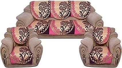 Danwrich Texture Velvet Sofa Cover Set (06 Pieces) for 05 Seater Sofa Set_500TC_Pink