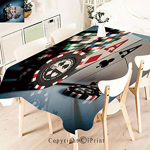 Rectangle Polyester Tablecloth, Gambling Chips and Pair Cards Aces,Vintage Printed and Spill Proof Table Cover for Home and Kitchen,W55 xL55,Multicolor