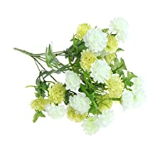 GaoCold Artificial Silk Flower Bouquet 28 Heads Lilac For Wedding Party Home Decoration Green + White