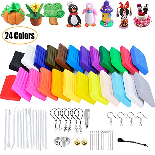 Polymer Clay, Outgeek 24 Colors Oven Bake Clay Soft Modeling Clay Starter Kit with 14 Sculpting Tools and Jewelry Accessories for Kids - Clay Starter Kit