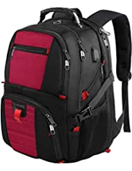 Travel Backpack, Large Capacity Computer Laptop Backpacks with USB Charging Port,Water Resistant College School Bookbag with Lots of Pockets for Women and Men Fits 17 Inch Laptop and Notebook - Red