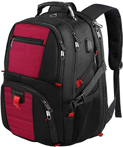 Travel Backpack, Large Capacity Computer Laptop Backpacks with USB Charging Port,Water Resistant College School Bookbag with Luggage Sleeve for Women and Men Fits 17 Inch Laptop and Notebook - Red -