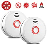 Smoke Alarm Fire Alarm Smoke Detector with Test Button 9 Volt Battery-Operated Photoelectric Smoke Alarms for Bedroom,Kitchen,Corridor,Bathroom and Hotel,10 Years 2 Pack Smoke Alarm with UL Listed For Sale