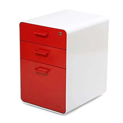 Merveilleux Poppin White + Red West 18th 3 Drawer File Cabinet