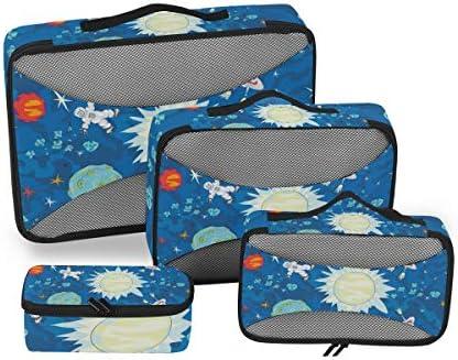 宇宙ロケット荷物パッキングキューブオーガナイザートイレタリーランドリーストレージバッグポーチパックキューブ4さまざまなサイズセットトラベルキッズレディース