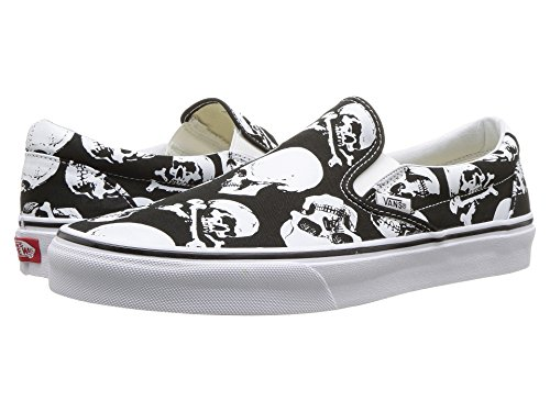 on Black Classic Vans Canvas Trainers Slip White Adults' Unisex Skulls w8HqEHI6x