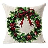 HOT ! YANG-YI Christmas Linen Square Throw Flax Pillow Case Decorative Cushion Pillow Cover # 2 (45cm45cm, C)