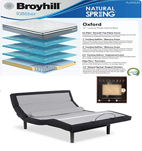 Leggett & Platt Prodigy Comfort Elite Adjustable Bed w/Choice of Broyhill Hybrid Matt and Set of Dreamfit Sheets (Split King(2 Twin XL Matts) + 13