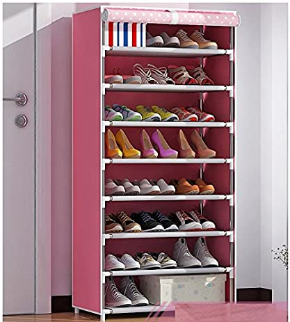 Luffar Simple Assembling 8 Tire Shoe Storage Cabinet Large Capacity Shoe  Rack Organizer With