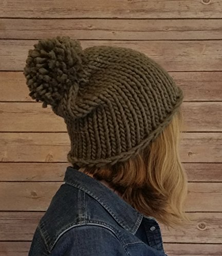 Womens Olive Green Chunky Knit Oversized Winter Bobble Beanie Hat ()
