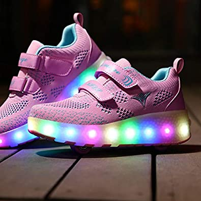 Ulike Kids Led Roller Sneakers USB Rechargeable Junior Girls Boys LED Light Up Flashing Skate Shoes Sport Sneakers with Wheels