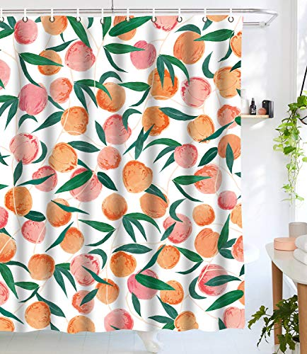 (Lifeel Peach Shower Curtains,Funny Fruit Design Fabric Summer Shower Curtain Set with 12 Hooks,Peachy White 72
