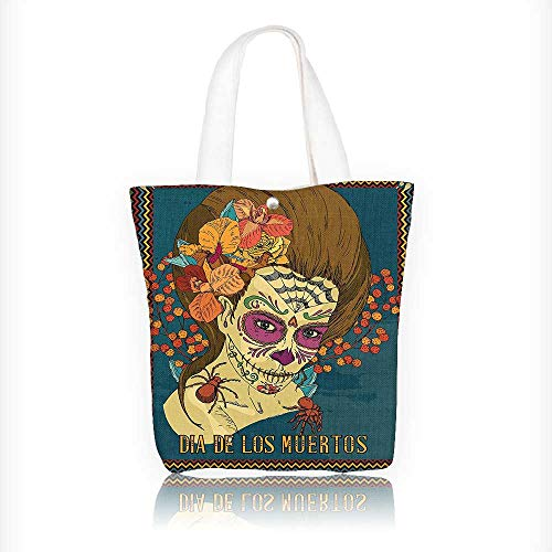 canvas tote bag Skull Girl with Roses Hearts Print Petrol Blue Caramel Amber reusable canvas bag bulk for grocery,shopping W16.5xH14xD7 INCH