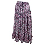 Womens Peasant Skirt Flared Gypsy Summer Husk Tiered Cotton Printed Long Skirts