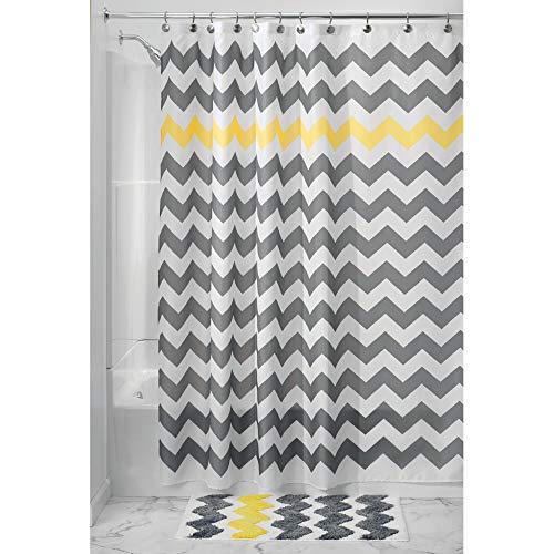 iDesign Fabric Chevron Shower Curtain for Master, Guest, Kids', College Dorm Bathroom, Standard, Gray and Yellow (Rug Target Chevron)