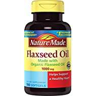 Nature Made Flaxseed Oil 1000 mg Softgels - Made w. Organic Flaxseed Oil 100 Ct