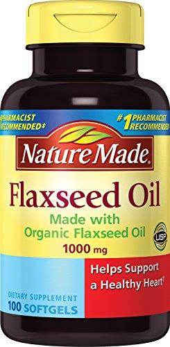 Nature Made Flaxseed Oil 1000 mg Softgels - Made w. Organic Flaxseed Oil 100 Ct Flax Oil 100 Softgels