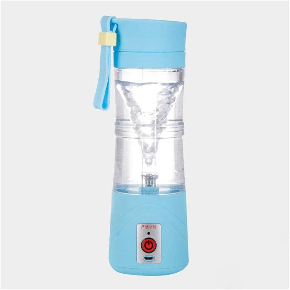 ZZJBXSLV Portable Juicer, USB Electric Juicer Bottle, Automatic Fruit Ice Mixing Cup, Portable Mini Travel Juice Blender, Rechargeable,Blue,A