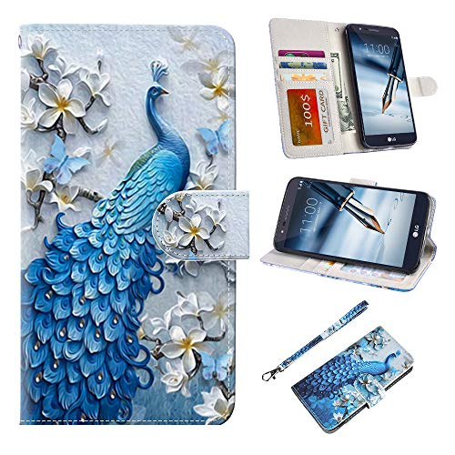 LG stylo 3 Case, UrSpeedtekLive LG stylo 3 Plus Wallet Case, Premium PU Leather Flip Wallet Case Cover w/Card Slots & Kickstand Compatible with LG stylo 3, Peacock