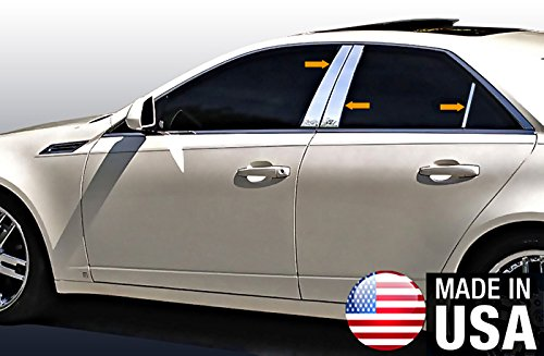 Made in USA! Works with 2008-2013 Cadillac CTS 6PC Stainless Steel Chrome Pillar Post Trim ()