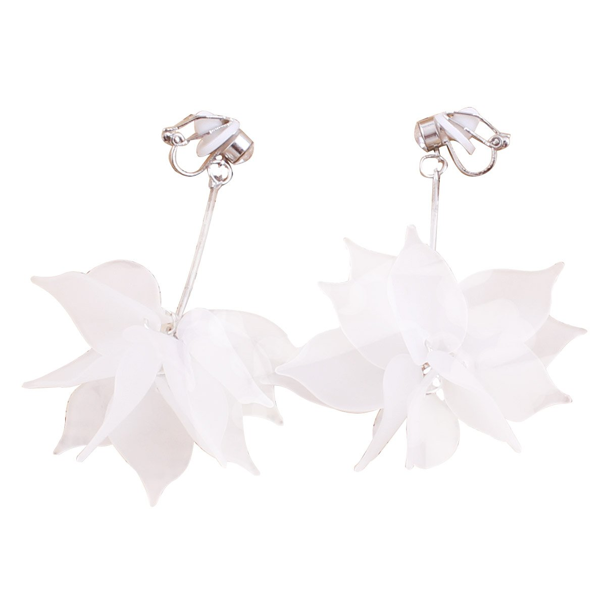 Grace Jun New Design Big Resin Flower Silver Plated Clip on Earrings Without Piercing for Girl's Ear Clip China XHEJ245