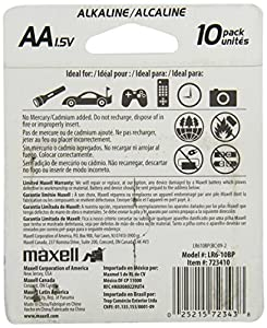 Maxell AAA Alkaline Battery, 10 pack