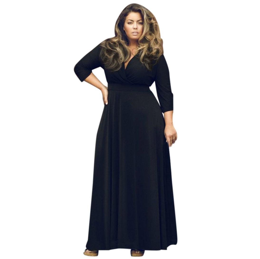 Yang-Yi Clearance, Hot Women Long V-Neck Maxi Evening Party Ball Prom Gown Cocktail Dress Plus Size (Black, L)