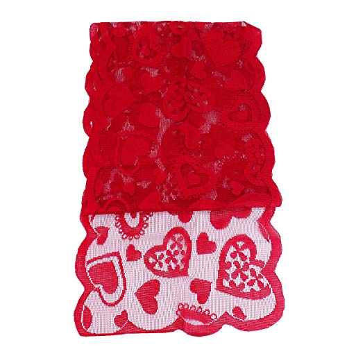 Monrocco 13 x 72 in Valentines Day Table Runner Hearts Valentine Table Runner for Valentine's Day Decoration Home Wedding, Bridal Shower