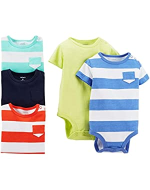 Carter's 5 Pack Bodysuits (Baby) - Stripes/Solids-NB