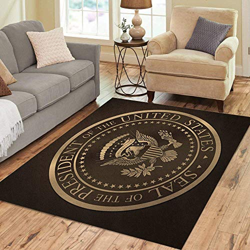 Pinbeam Area Rug Highly Detailed Gold Embossed Monochromatic The Official Home Decor Floor Rug 3