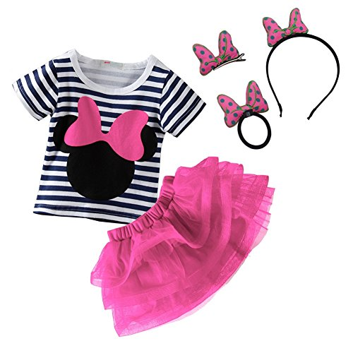 Mud Kingdom Toddler Girl Outfits and Hair Accessory Sets Pink 24 Months