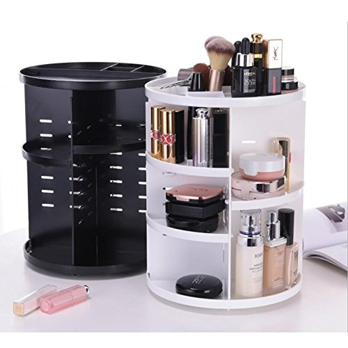 Fyore 360 Degree Rotating Makeup Organizer Large Adjustable Round Desktop Cosmetics Storage Box Girls Valentine's Day Gift (White)
