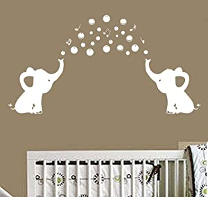 Elephant Wall Decal with Elephant Family Wall Decal Removable Vinyl Wall Art Elephant Bubbles Wall Stickers Baby Nursery Wall Decor (White)