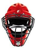 FORCE3 - The SAFEST Catcher's Mask ever made! (Hockey Style) Youth. NOCSAE Certified. Red