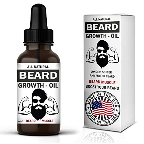 Beard Muscle Beard Growth Oil - Made in USA - Natural Unscented Organic with Biotin Jojoba, Hemp and...