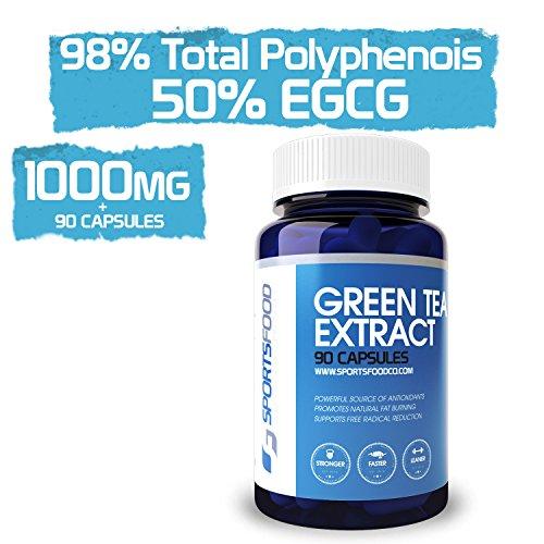 Extrait de Thé Vert 1000mg x 90 comprimés, 98% polyphénols totaux (le plus élevé sur Amazon), 50% d'EGCG