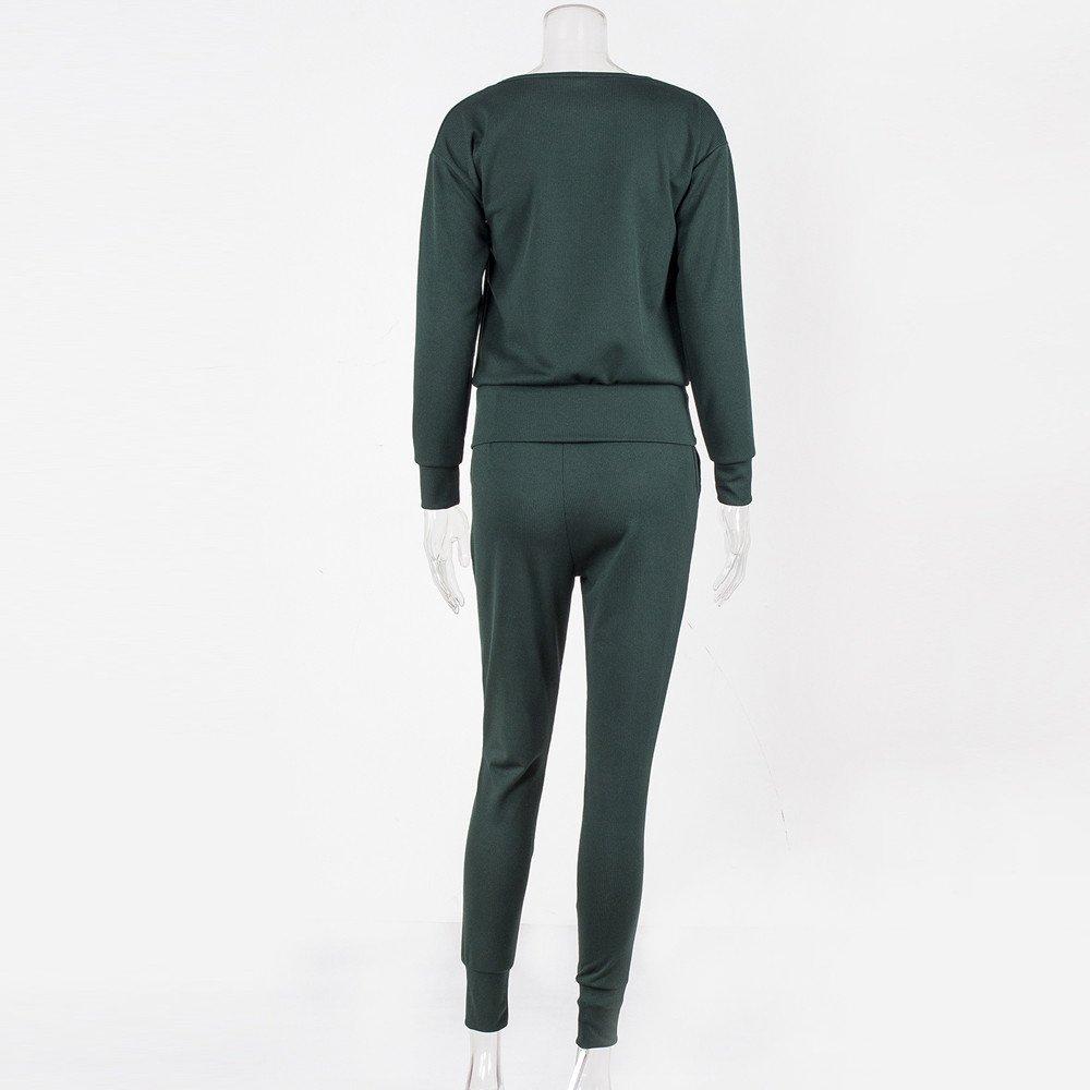 Tomatoa 2Pcs Women Solid Tracksuit Winter Sweatshirt Regular Sleeve Long Pants Sport Lounge Wear Suit Sets