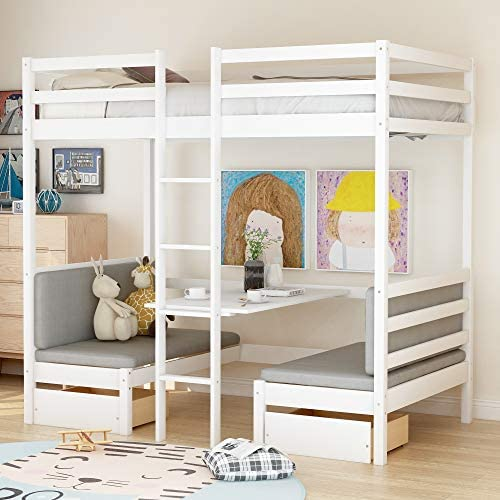 GLCHQ Twin Size Solid Wood Functional Bunk Bed Turn into Upper Bed and Down Desk,White